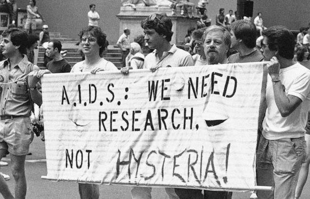 PHOTO: A group advocating AIDS research marches down Fifth Avenue during the 14th annual Lesbian and Gay Pride parade in New York, June 27, 1983. (Mario Suriani/AP, FILE)