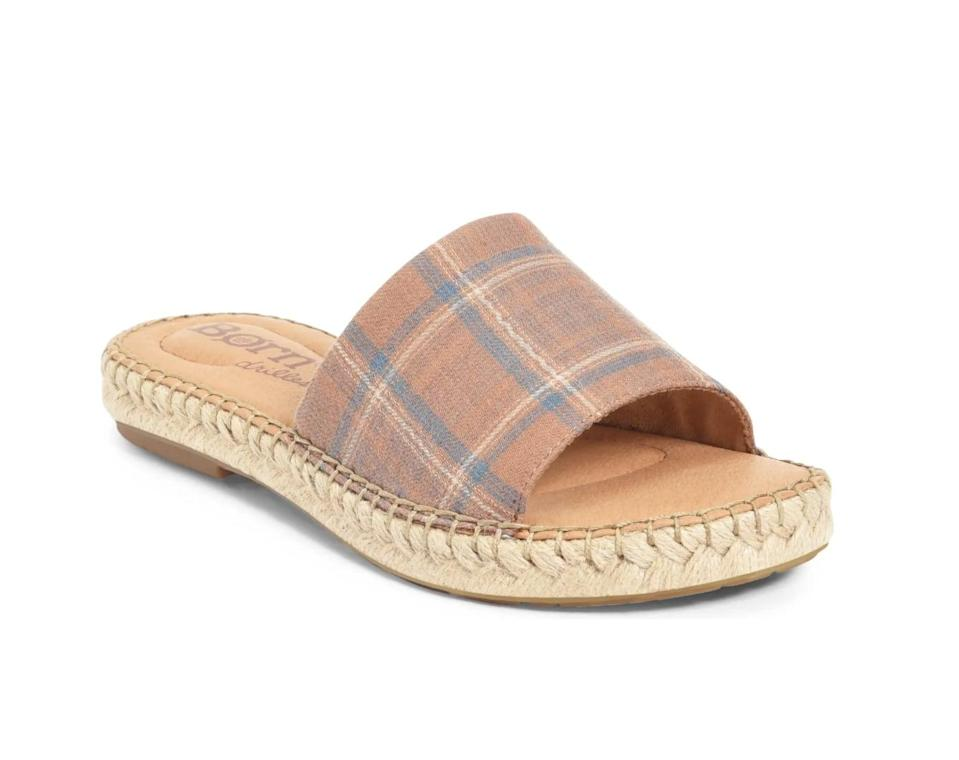 <p>The plaid strap of this <span>Born San Benito Espadrille Slide Sandal</span> ($75) makes it a step above the rest.</p>