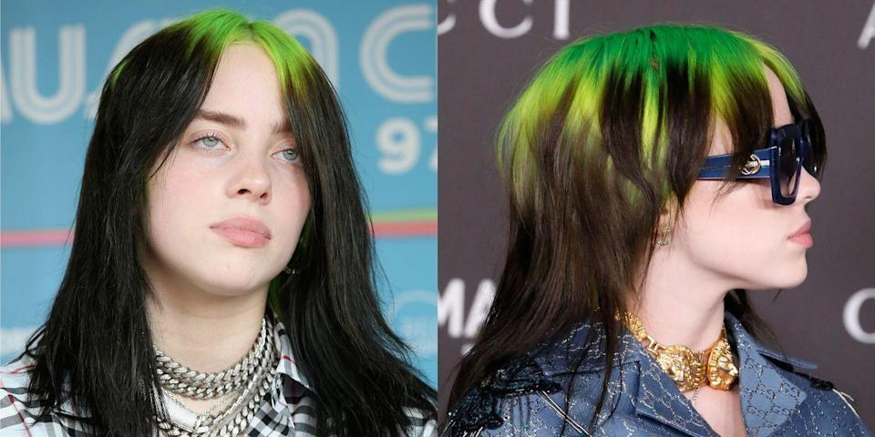 "<p>Billie leveled-up on her iconic <em><a href=""https://www.seventeen.com/celebrity/music/a28325967/billie-eilish-style-jojos-bizarre-adventure/"" rel=""nofollow noopener"" target=""_blank"" data-ylk=""slk:Jojo's Bizarre Adventure"" class=""link rapid-noclick-resp"">Jojo's Bizarre Adventure</a></em><a href=""https://www.seventeen.com/celebrity/music/a28325967/billie-eilish-style-jojos-bizarre-adventure/"" rel=""nofollow noopener"" target=""_blank"" data-ylk=""slk:-inspired hair"" class=""link rapid-noclick-resp"">-inspired hair</a>, with this brand new cut. She kept her green-to-brown fade, but opted for a surprisingly chic mullet cut. Obsessed.</p>"