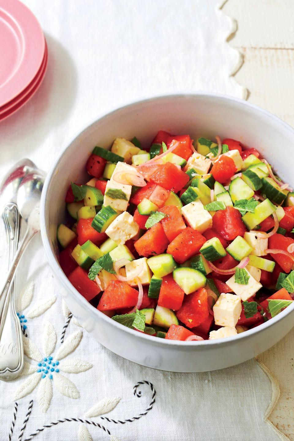 """<p><strong>Recipe:</strong> <a href=""""https://www.southernliving.com/recipes/watermelon-cucumber-feta-salad-recipe"""" rel=""""nofollow noopener"""" target=""""_blank"""" data-ylk=""""slk:Watermelon, Cucumber, and Feta Salad"""" class=""""link rapid-noclick-resp"""">Watermelon, Cucumber, and Feta Salad</a></p> <p>This is the salty-sweet combo you need for summer. Watermelon and cucumber add delicious crunch to the salad, while feta cheese brings plenty of salty flavor.</p>"""
