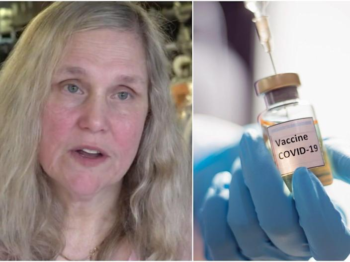 Composite image of Lisa Adler and a COVID-19 vaccine