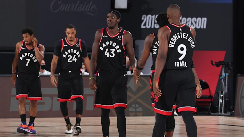 Orlando, FL - SEPTEMBER 9: Pascal Siakam #43 of the Toronto Raptors hi-fives his teammates during the game against the Boston Celtics during Game Six of the Eastern Conference Semifinals on September 9, 2020 in Orlando, Florida at The Field House. NOTE TO USER: User expressly acknowledges and agrees that, by downloading and/or using this Photograph, user is consenting to the terms and conditions of the Getty Images License Agreement. Mandatory Copyright Notice: Copyright 2020 NBAE (Photo by Nathaniel S. Butler/NBAE via Getty Images)