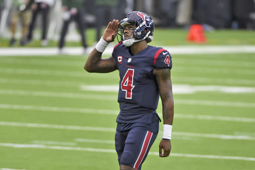 Houston Texans quarterback Deshaun Watson looks up during the second half of an NFL football game against the Green Bay Packers Sunday, Oct. 25, 2020, in Houston. (AP Photo/Eric Christian Smith)
