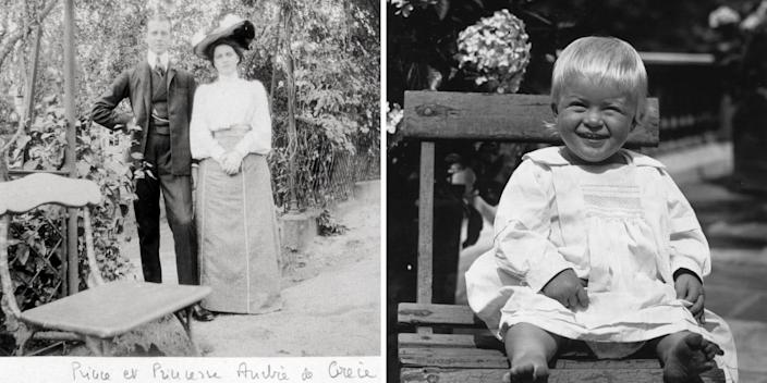 prince andrew of greece and denmark, princess alice of battenberg, and prince philip as a baby