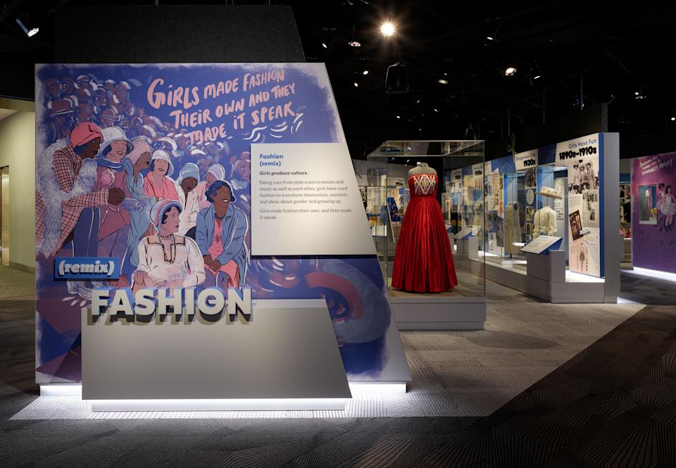 """In 2018, Bella Cornell (Chocktaw) wore a prom dress to bring awareness to missing and murdered indigenous women. Her dress is now on display at Smithsonian National Museum of American History's """"Girlhood (It's Complicated)"""" exhibit. (Photo: Smithsonian Institute)"""