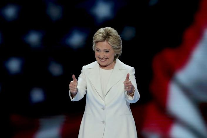 Hillary Clinton gives two thumbs up at the Democratic National Convention in Philadelphia, July 28, 2016. (Photo: Alex Wong/Getty Images)