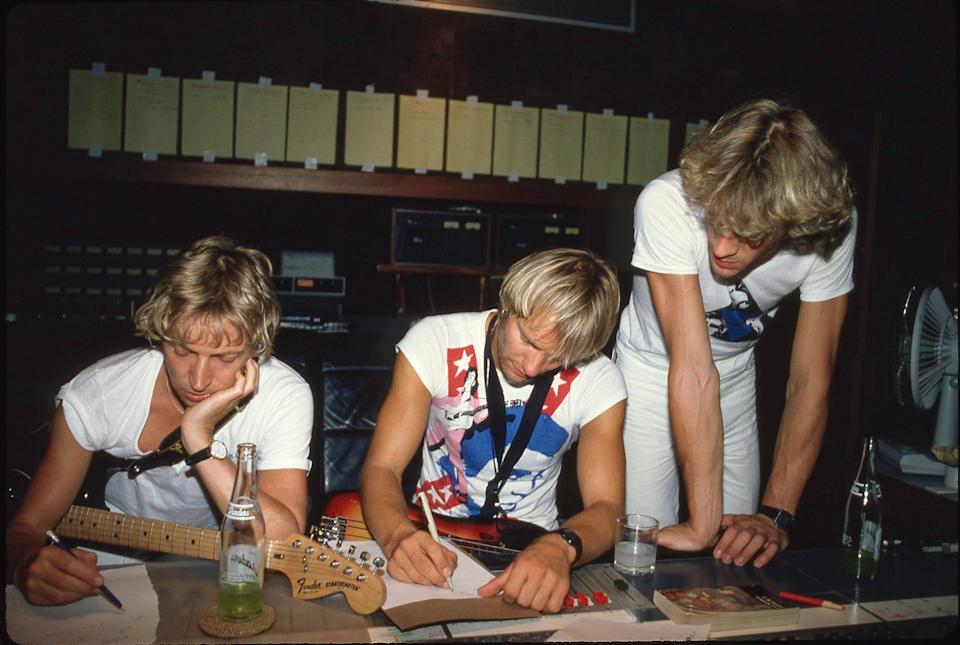 """Andy Summers, Sting and Stewart Copeland work on their """"Synchronicity"""" album at AIR Studios Montserrat. The result was a hit album and a band breakup."""