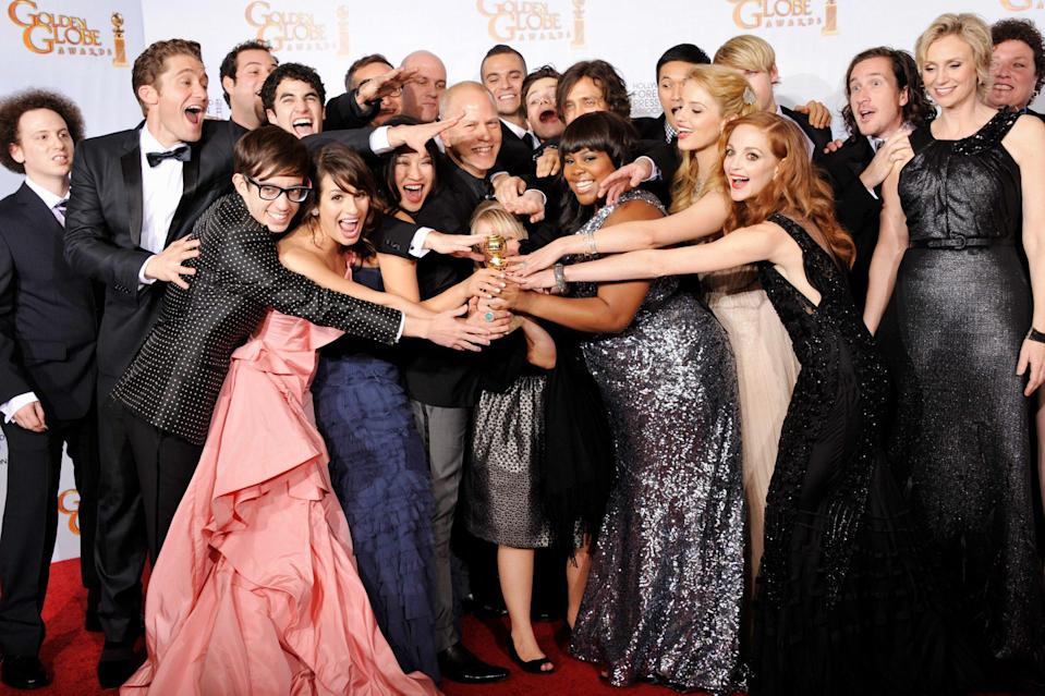 <p>Celebrating their win for best comedy or musical, the cast of that year's hottest show, <em>Glee, </em>looked ... well, we won't make the pun. </p>