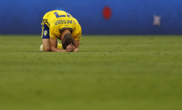 <p>Sweden's Viktor Claesson after the match </p>
