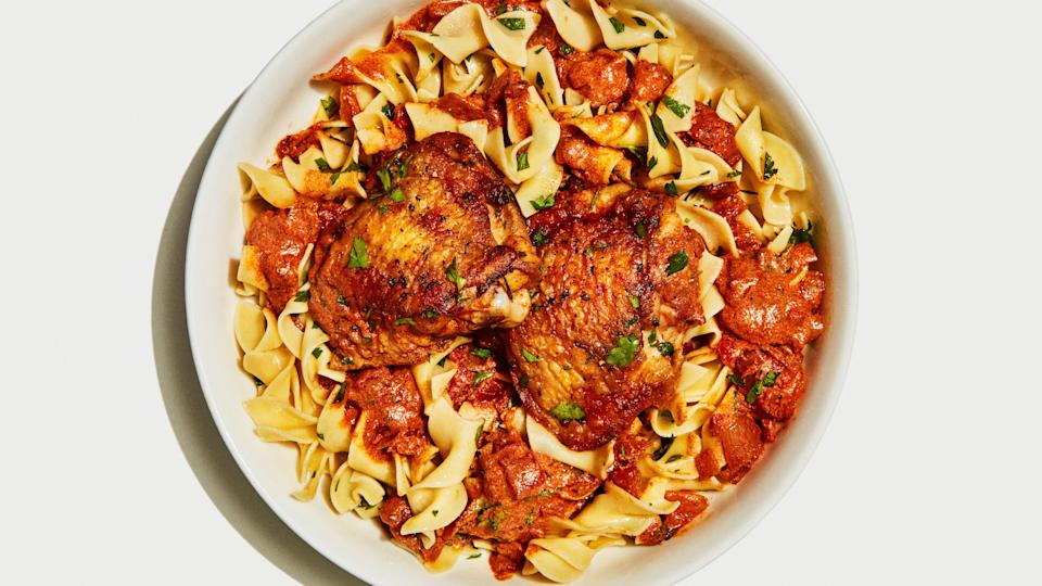 "What's more comforting than saucy chicken over buttered egg noodles?? Nothing. To ensure the silkiest, noodle-coating sauce, make sure the sour cream is room temperature so it blends seamlessly into the hot tomato sauce (otherwise, it might separate and give the sauce a curdled look). <a href=""https://www.bonappetit.com/recipe/chicken-paprikash-with-buttered-egg-noodles?mbid=synd_yahoo_rss"" rel=""nofollow noopener"" target=""_blank"" data-ylk=""slk:See recipe."" class=""link rapid-noclick-resp"">See recipe.</a>"
