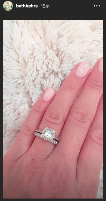 Beth Behrs, who married Michael Gladis over the weekend, shared a photo of her new wedding ring. (Photo: Beth Behrs via Instagram)