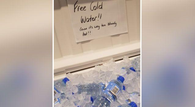 One Woolworths handed out free water due to the soaring temperatures. Source: Reddit