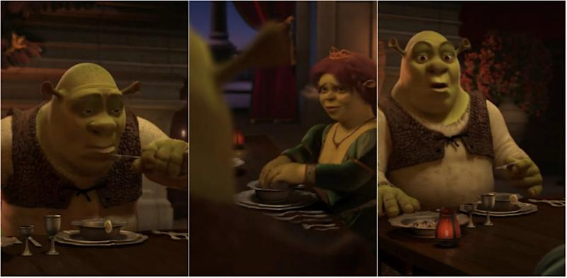 Scene from Shrek 2 where the Oger slurps water meant for washing. (Photo: YouTube)