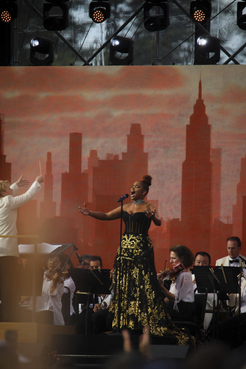 Jennifer Hudson performs with the New York Philharmonic orchestra at We Love NYC: The Homecoming Concert at The Great Lawn in Central Park on Saturday, Aug. 21, 2021, in New York. (Photo by Andy Kropa/Invision/AP)