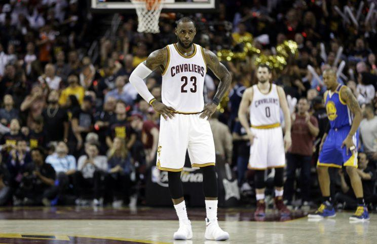 LeBron James stands alone during Game 3. (AP)