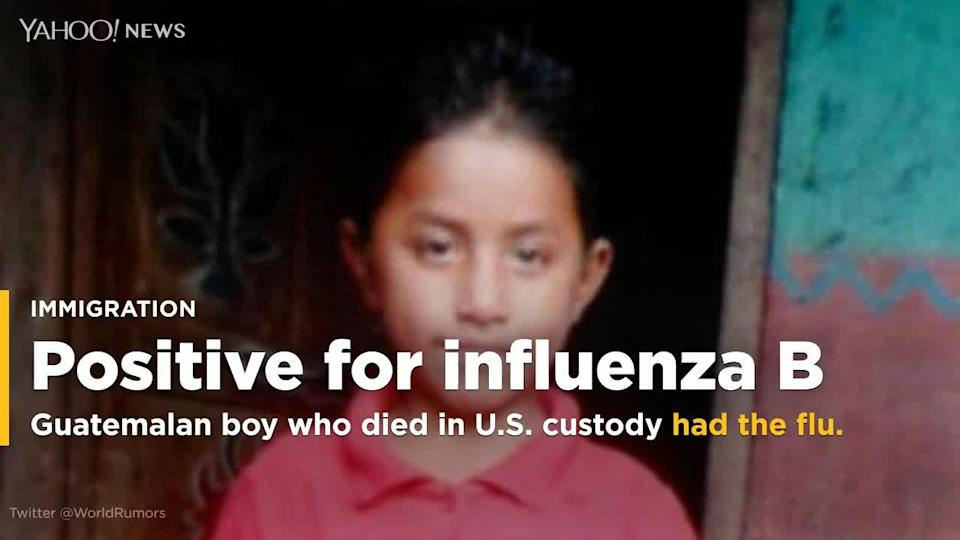 An 8-year-old Guatemalan boy who died in U.S. custody on Christmas Eve tested positive for influenza B, according to the New Mexico Office of the Medical Investigator.