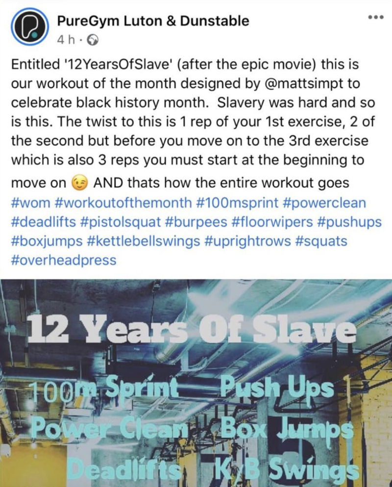 A photo shows the post on the PureGym Luton and Dunstable's Facebook about a workout called '12 Years Of Slave', which has sparked backlash.