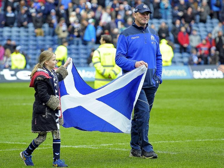 Scotland's departing coach Vern Cotter, with daughter Arabella, received a huge ovation from the sell-out Murrayfield crowd on a reluctant lap of honour at the final whistle