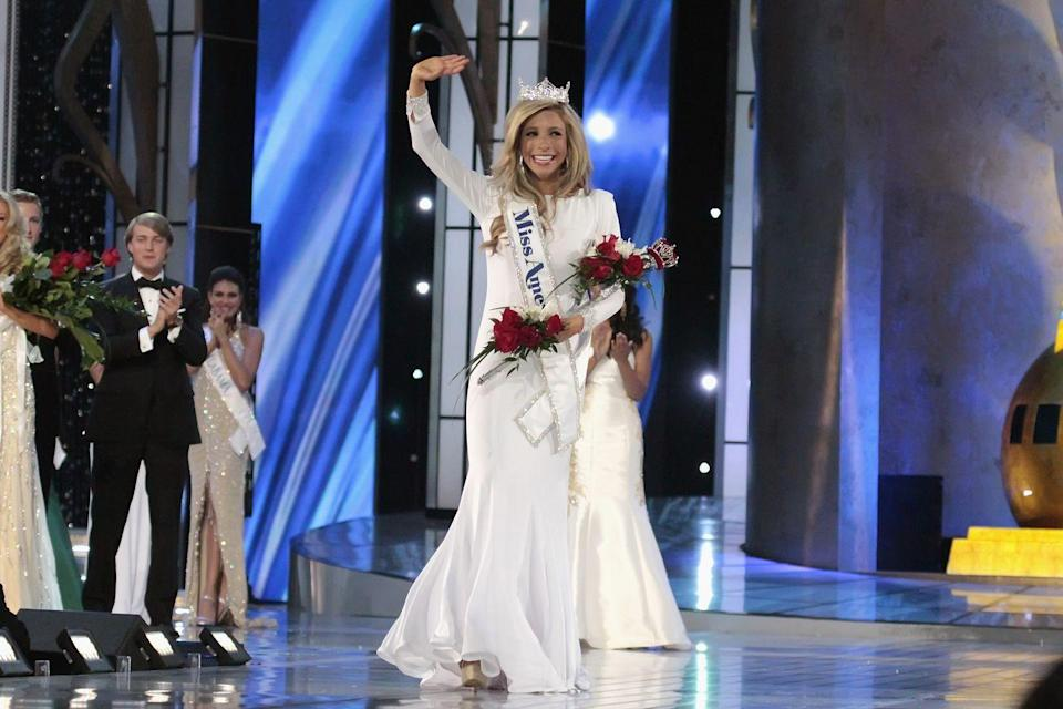 <p>Kira Kazantsev was prepared with a white evening look that matched her Miss America sash. Fun fact: She was the third Miss New York in a row to be crowned winner.</p>