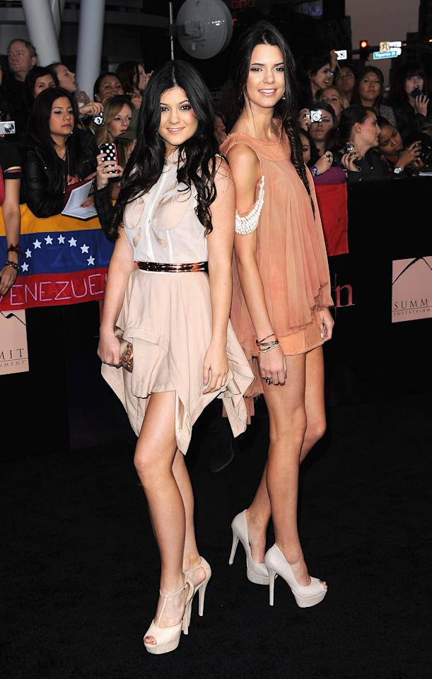 "LOS ANGELES, CA - NOVEMBER 14:  TV personalities Kylie Jenner and Kendall Jenner arrive at the Premiere of Summit Entertainment's ""The Twilight Saga: Breaking Dawn - Part 1"" at Nokia Theatre L.A. Live on November 14, 2011 in Los Angeles, California.  (Photo by Jason Merritt/Getty Images)"