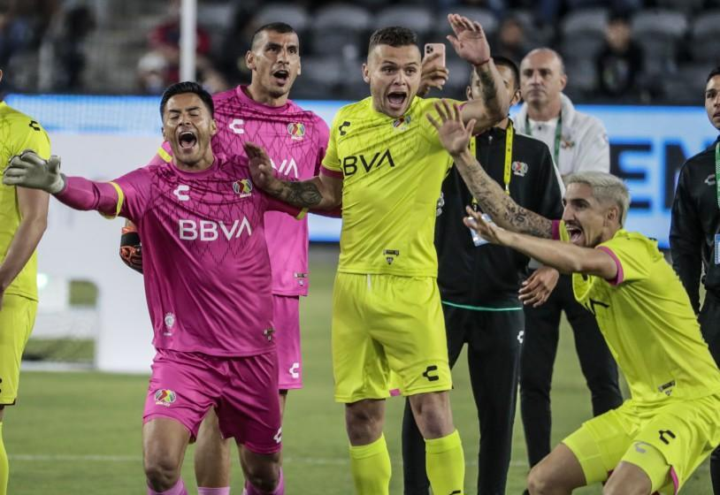 Los Angeles, CA, Tuesday, August 24, 2021 - Liga MX players cebrate after beating MLS in the MLS All-Star Skills Challenge at Banc of California Park. (Robert Gauthier/Los Angeles Times)