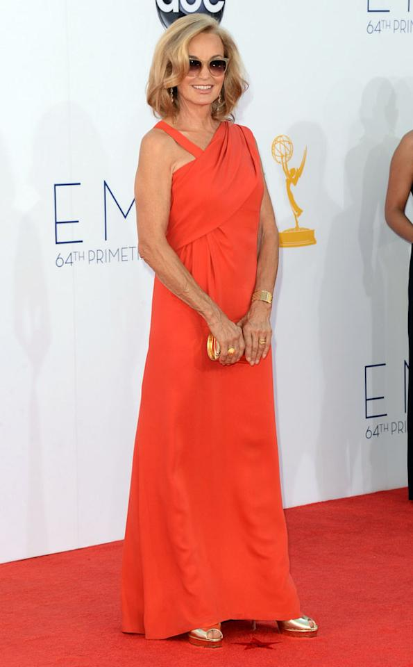 Jessica Lange arrives at the 64th Primetime Emmy Awards at the Nokia Theatre in Los Angeles on September 23, 2012.