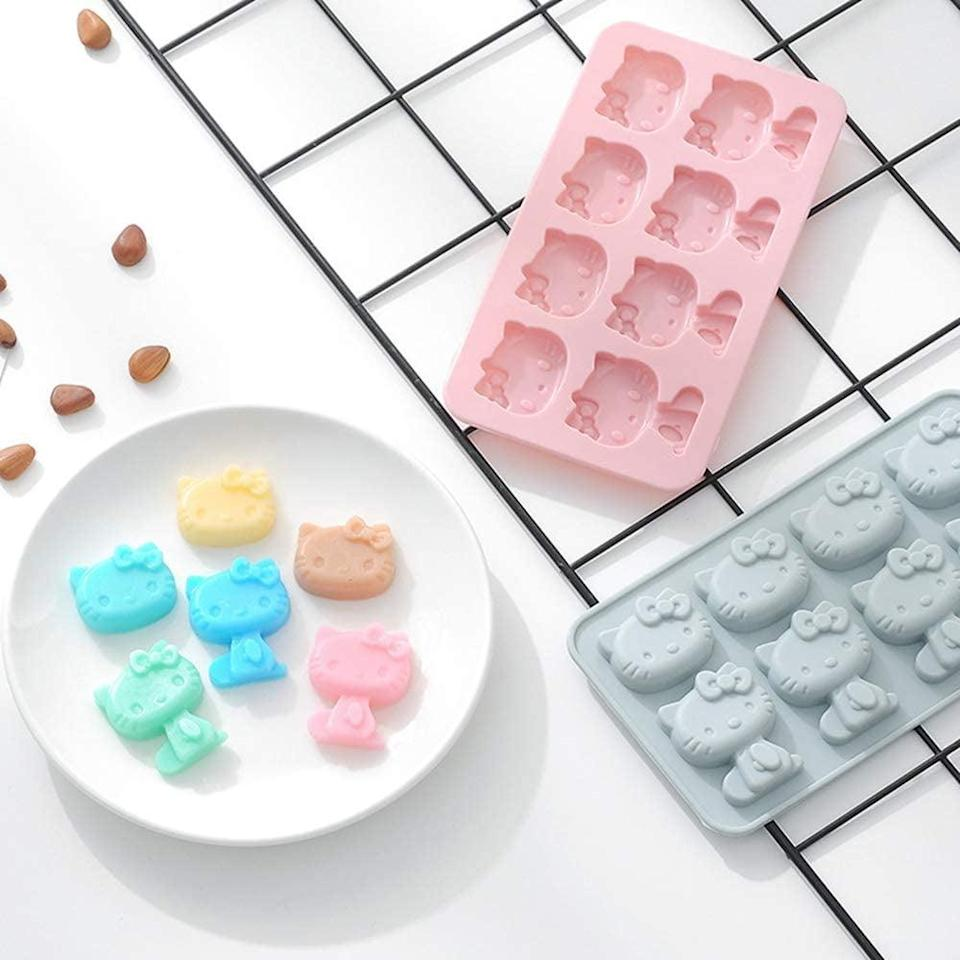 <p>From ice to chocolate, the <span>2 pack Hello Kitty Silicone Mold</span> ($13) will let you create all sorts of Hello Kitty themed goodies.</p>