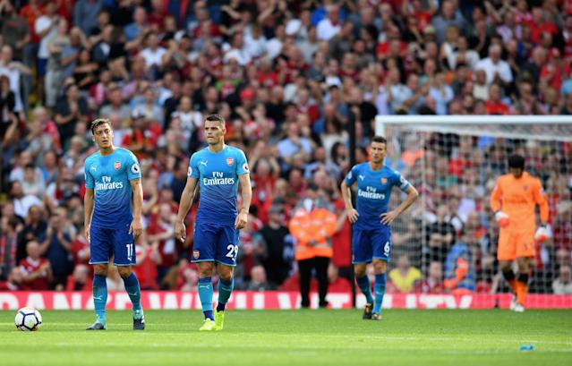 """(From left to right) Mesut Ozil, <a class=""""link rapid-noclick-resp"""" href=""""/soccer/players/granit-xhaka/"""" data-ylk=""""slk:Granit Xhaka"""">Granit Xhaka</a>, <a class=""""link rapid-noclick-resp"""" href=""""/soccer/players/laurent-koscielny/"""" data-ylk=""""slk:Laurent Koscielny"""">Laurent Koscielny</a> and <a class=""""link rapid-noclick-resp"""" href=""""/soccer/players/petr-cech/"""" data-ylk=""""slk:Petr Cech"""">Petr Cech</a> have some explaining to do. (The Guardian)"""