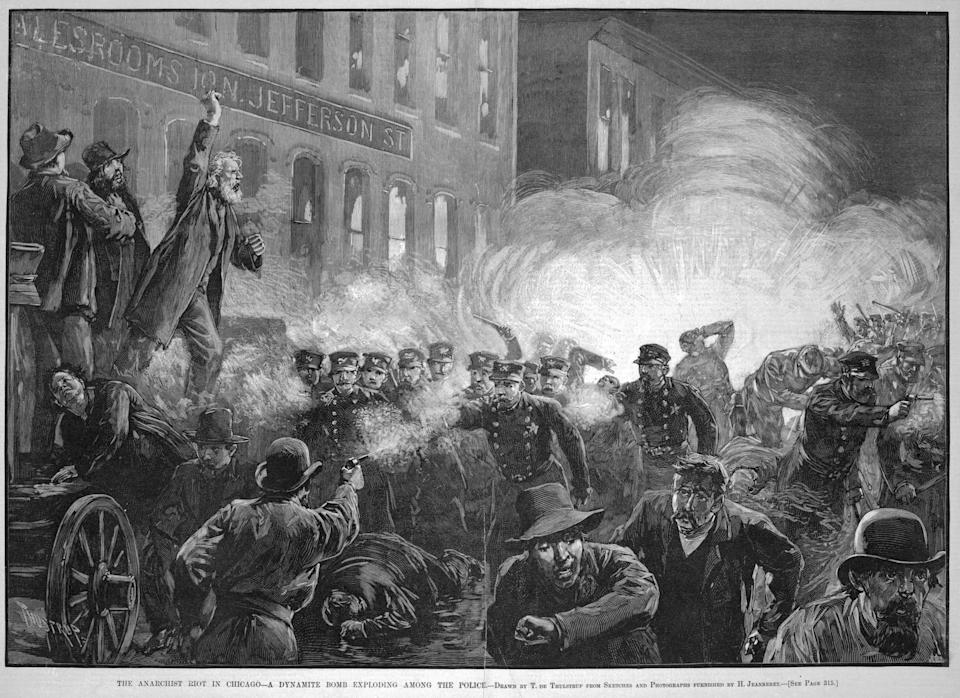 In an image published in Harper's Weekly, Samuel Fielden, a radical socialist from England, stands atop the speaker's wagon as a dynamite bomb explodes, triggering the tragic events at Haymarket Square, Chicago, in 1886. (Photo: Chicago History Museum via Getty Images)