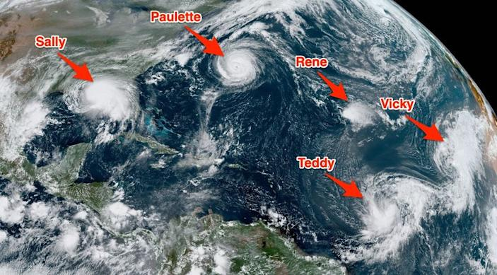 hurricanes tropical storms cyclones atlantic satellite image named