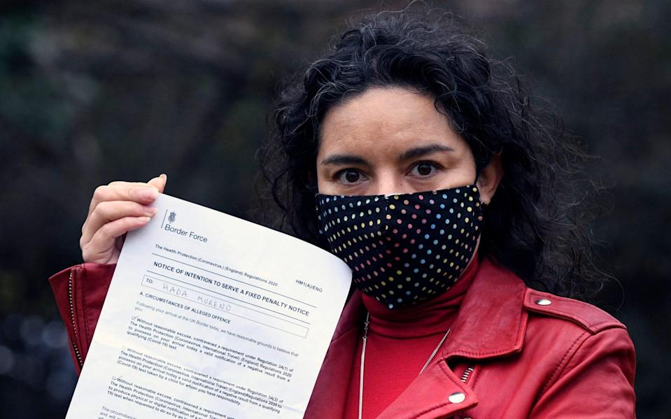 Hada Mereno, from Wheatley, Oxfordshire, who was fined £500.00 when she arrived at Heathrow Airport from Spain for failing to provide a COVID test certificate. picture David Dyson - David Dyson
