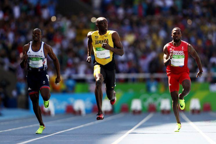 """Jamaica's <a class=""""link rapid-noclick-resp"""" href=""""/olympics/rio-2016/a/1056797/"""" data-ylk=""""slk:Usain Bolt"""">Usain Bolt</a>, Richard Thompson of Trinidad and Tobago and James Dasaolu of Great Britain compete in the Men's 100m Round 1. (Getty)"""