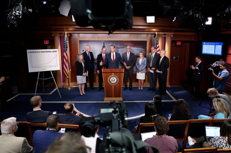 FILE PHOTO: Senate Republicans discuss potential Democratic tax hikes during news conference at the U.S. Capitol in Washington