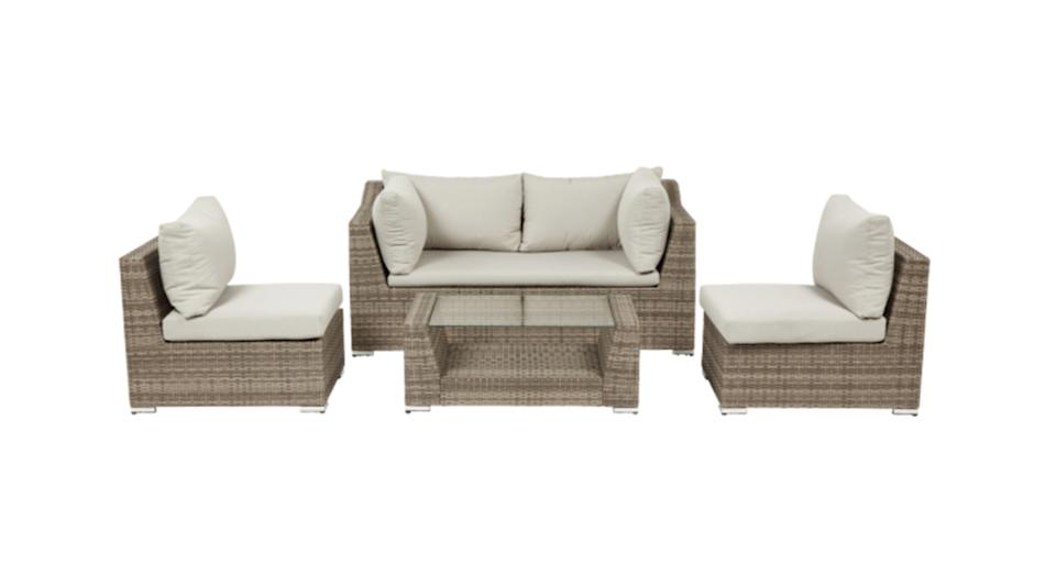 Maevea Rattan effect 4 seater Coffee set