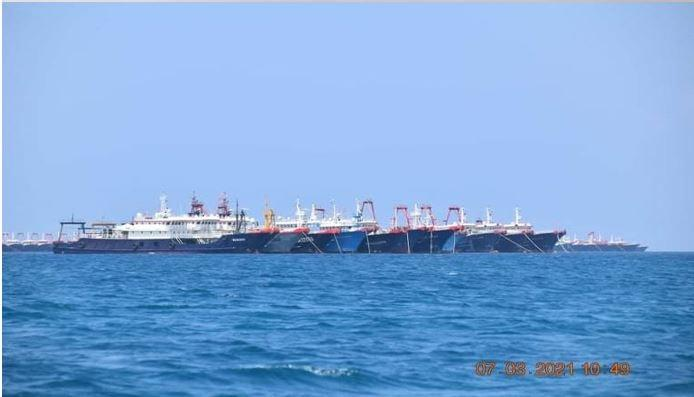 Around 220 Chinese maritime militia vessels were seen moored at Whitsun Reef (Julian Felipe) in the Philippines' exclusive economic zone in the South China Sea sparking concerns of overfishing.