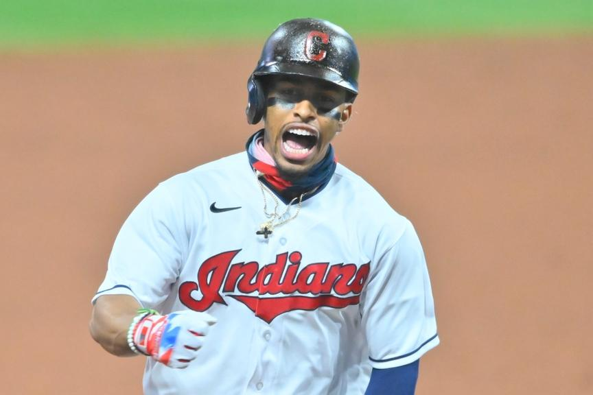 Francisco Lindor screams while rounding bases