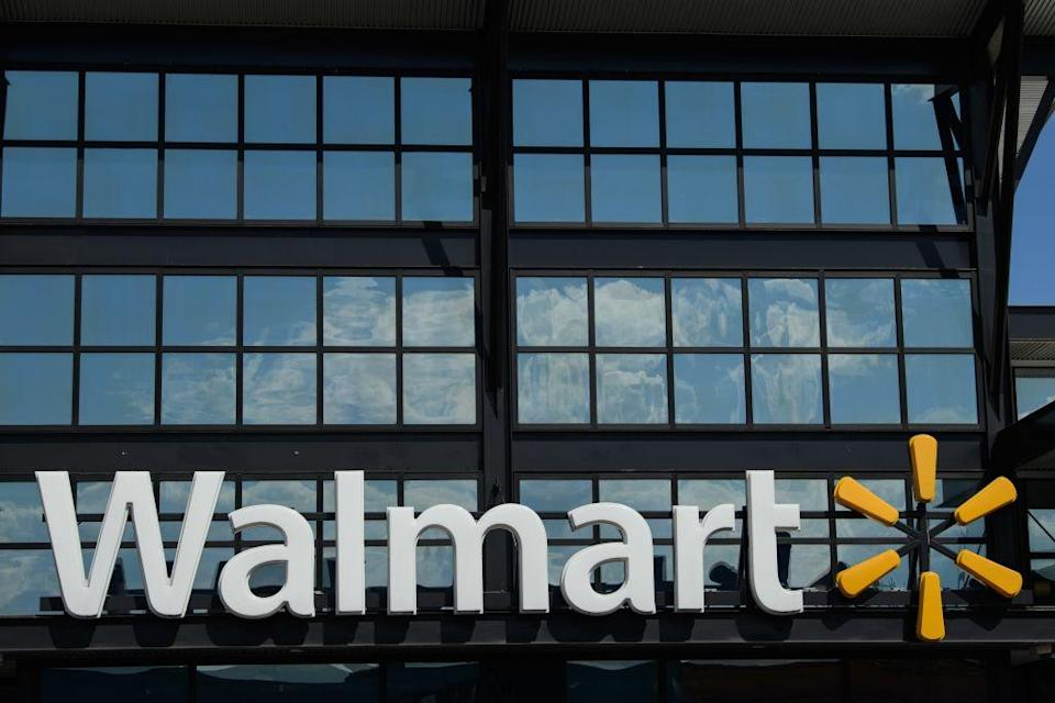 A Walmart logo is seen outside a store in Washington, DC, on August 18, 2020. (Photo by NICHOLAS KAMM / AFP) (Photo by NICHOLAS KAMM/AFP via Getty Images)