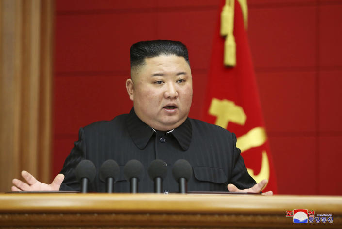 "In this photo provided by the North Korean government, Kim Jong Un speaks in a conference with chief secretaries of the city and county party committees in Pyongyang, North Korea, Saturday, March 6, 2020. The content of this image is as provided and cannot be independently verified. Korean language watermark on image as provided by source reads: ""KCNA"" which is the abbreviation for Korean Central News Agency. (Korean Central News Agency/Korea News Service via AP)"