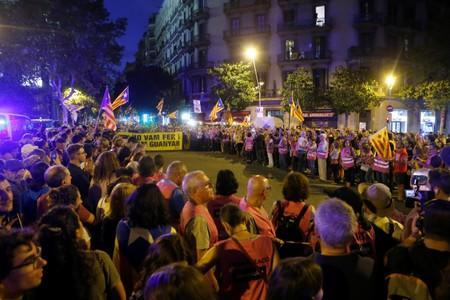 Supporters of Catalonia's independence take part in a protest to mark the second anniversary of the October 1st illegal referendum of independence in Barcelona