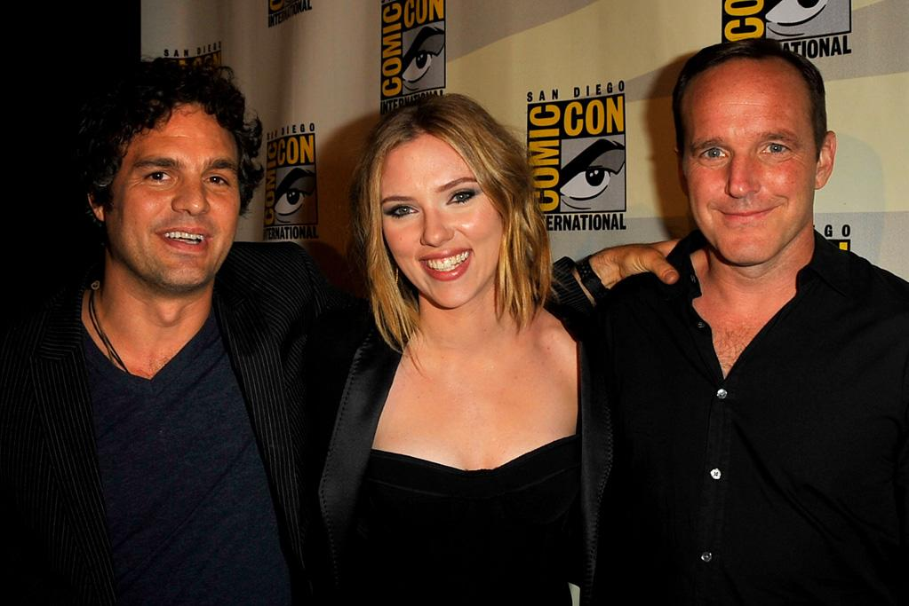 """<a href=""""http://movies.yahoo.com/movie/contributor/1800025702"""">Mark Ruffalo</a>, <a href=""""http://movies.yahoo.com/movie/contributor/1800022348"""">Scarlett Johansson</a> and <a href=""""http://movies.yahoo.com/movie/contributor/1800019480"""">Clark Gregg</a> attend the Marvel Studios' 'Thor' and 'Captain America: The First Avenger' panel on day 3 of the 2010 Comic-Con International Convention on July 24, 2010 at the San Diego Convention Center in San Diego, California."""