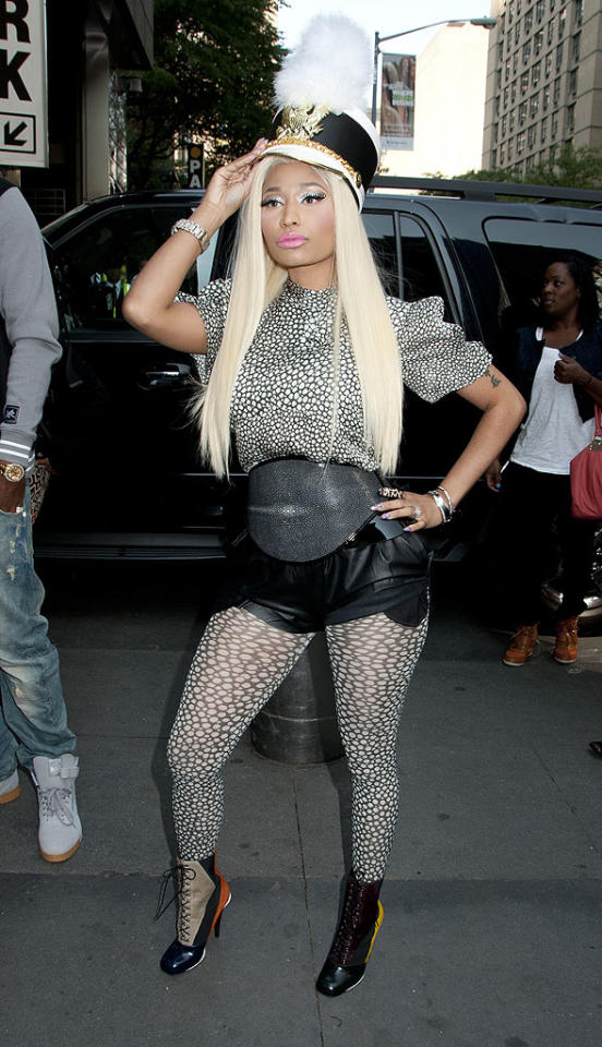 """Nicki Minaj is a disastrous dresser (a drum major hat, really?), but we can't deny our excitement for the upcoming season of """"American Idol,"""" where the clown-like rapper will be competing against fellow judge, Mariah Carey, in a weekly style showdown. (9/17/2012)<br><br><a href=""""http://omg.yahoo.com/news/mariah-carey-no-feuding-minaj-idol-yet-213745030.html"""">Carey: No feuding with Minaj ... yet</a>"""