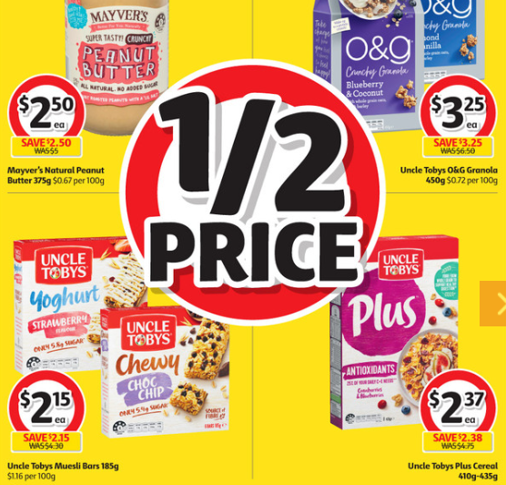 Peanut butter, granola, muesli bars and cereal on sale for half-price at Coles.