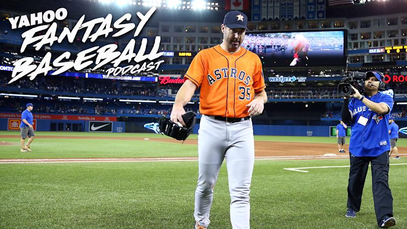Houston Astros P Justin Verlander's no-hitter in Toronto headlined a big weekend in sports. Scott Pianowski and Paul Sporer discuss Verlander and the state of pitchers in their 30s on the latest Yahoo Fantasy Baseball Podcast. (Photo by Vaughn Ridley/Getty Images)