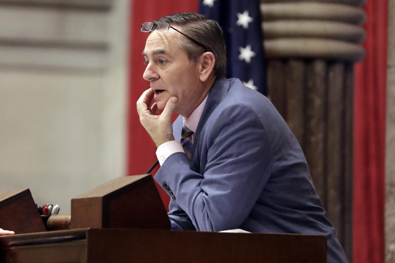In this May 1, 2019, photo, House Speaker Glen Casada, R-Franklin, stands at the microphone during a House session in Nashville, Tenn. House Republicans have scheduled a closed-door meeting to discuss the future of Tennessee's embattled House speaker. (AP Photo/Mark Humphrey)