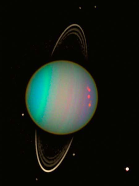Uranus' tilt essentially has the planet orbiting the Sun on its side, the axis of its spin is nearly pointing at the Sun.