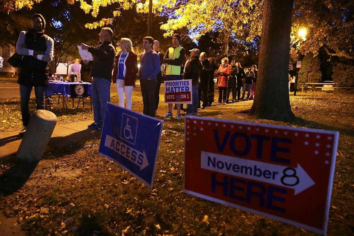 Voters wait to cast their ballots last Nov. 8 in Alexandria, Va. (Photo: Alex Wong/Getty Images)