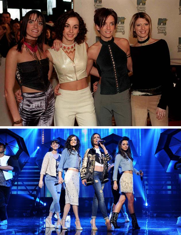 Big Reunion bands before and after: B*Witched were known for their love of double denim back in the day [Above] At the reunion gig, they played tribute to that in stylised denim outfits. [Below] Copyright [PA/Rex]