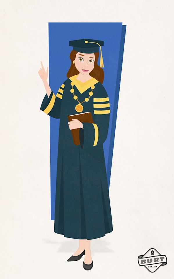 "<p><strong>Matt's explanation:</strong> ""There was always much more in store for Belle than a provincial life. Inspired by her love of books and knowledge, Belle went into academia. After receiving her doctorate in education, Belle has risen to the level of chancellor at a major university. She is committed to affordable and equal education for all.""</p>"