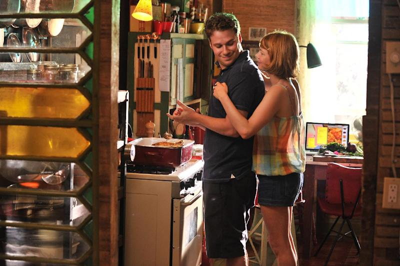 """This film image released by Magnolia Pictures shows Seth Rogan, left, and Michelle Williams in a scene from """"Take This Waltz."""" (AP Photo/Magnolia Pictures)"""