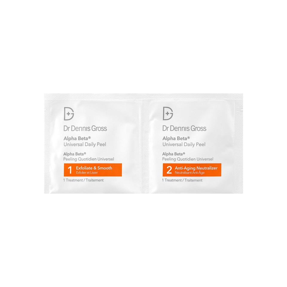 """<p>Dr. Dennis Gross's famous Alpha Beta Peel Extra Strength Daily Peel — packed with glycolic acid — promotes cellular turnover to remove the top layers of the skin revealing a brighter, fresh complexion. """"It boosts collagen production and elastin production with the removal of waste and dead skin cells,"""" New York City-based board-certified dermatologist Dendy Engelman says, not to mention that it's very effective in breaking down skin cells and removing dead particles. And that's especially true when it's accompanied by fellow exfoliating acids like that of the lactic, malic, citric, salicylic variety. Bottom line: By removing these dead cells, healthy, glowy skin is revealed.</p> <p><strong>$88 for 30 pads</strong> (<a href=""""https://shop-links.co/1624720174203039633"""" rel=""""nofollow noopener"""" target=""""_blank"""" data-ylk=""""slk:Shop Now"""" class=""""link rapid-noclick-resp"""">Shop Now</a>)</p>"""